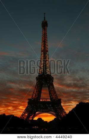 Eiffel Tower At Evening.