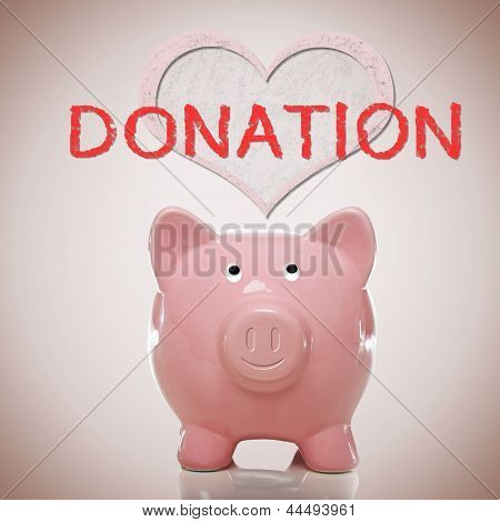 Piggy Bank With Heart And Donation Text