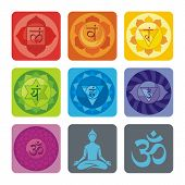 stock photo of sanskrit  - Spiritual set with chakras and yoga icons - JPG