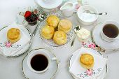 stock photo of devonshire  - Devonshire tea and fresh baked scones with jam and cream - JPG