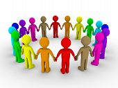 image of population  - Many different colored people form a circle - JPG