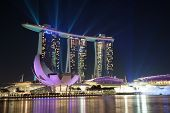 foto of singapore night  - Singapore Marina bay spectacular night laser show - JPG