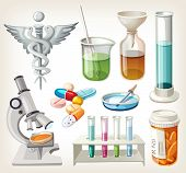 stock photo of medical supplies  - Set of supplies used in pharmacology for preparing medicine - JPG
