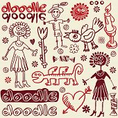 crazy doodle set, hand drawn design elements