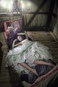 picture of flat-bed  - Beauty Women In Dress Lying In The Bed - JPG