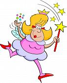 stock photo of tooth-fairy  - Cartoon illustration of a fairy godmother waving a magic wand - JPG