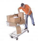 delivery man with clipboard and boxes on shop trolley