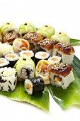 Sushi Set - Different Types of Maki Sushi (Yin Yang Roll, Salmon and Smoked Eel Roll, Cucumber Roll,