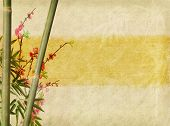 stock photo of bamboo  - bamboo and plum blossom on old antique paper texture - JPG