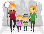 stock photo of pedestrians  - Illustration of a Family Crossing the street on a Pedestrian Lane - JPG
