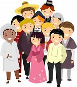 picture of national costume  - Illustration of People with Different Nationalities wearing their National Costumes - JPG