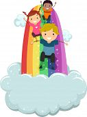 foto of playmate  - Illustration of Kids sliding on a Rainbow Slide with Clouds - JPG