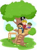 stock photo of playmate  - Illustration of Little Boys playing as Pirates on a Tree - JPG