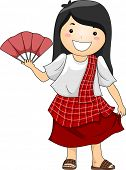 picture of filipina  - Illustration of a Happy Little Girl wearing Traditional Philippine Costume Baro - JPG