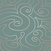 foto of duck egg blue  - Hand drawn pink pearly pattern of swirls and curves on a duck egg blue background - JPG