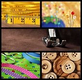 Sewing collage includes macro images of tape measure, pincushion, threaded machine needle, colorful