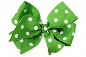 stock photo of hair bow  - Shot of a green hair bow isolated over white - JPG