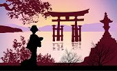 stock photo of geisha  - Geisha and Mount Fuji with trees and sea - JPG