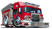 stock photo of ladder truck  - Vector Cartoon Fire Truck - JPG