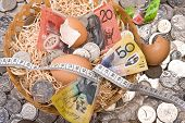 picture of nest-egg  - close up of money with eggs in nest with tape measure  - JPG