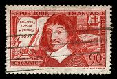 Vintage French Stamp Depicting Rene Descartes