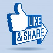 stock photo of positive  - Like and share thumbs up symbol for social networking - JPG