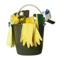 pic of house cleaning  - Plastic bucket with cleaning supplies isolated on white background - JPG