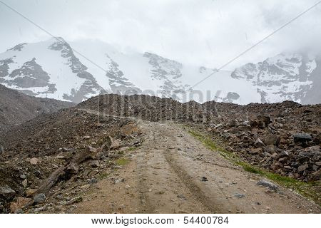 Hail on the road to Tosor pass. Tien Shan