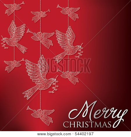 Formal Christmas Filigree Card In Vector Format.