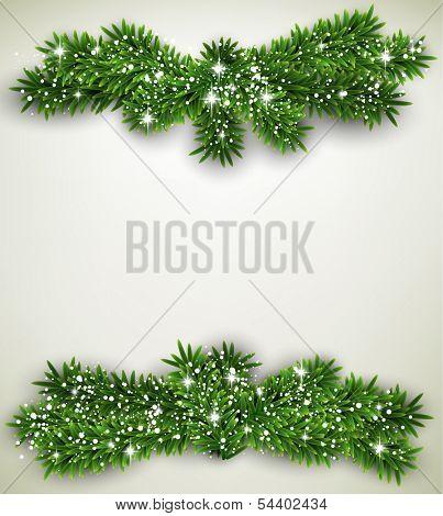 Detailed frame with fir bundle. Christmas background. Vector illustration.