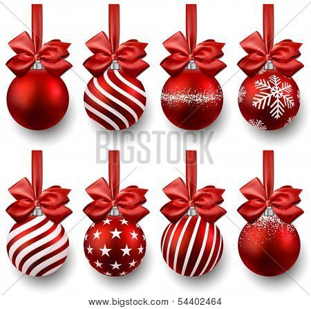 Red christmas balls on gift bows. Set of isolated realistic decorations. Vector illustration.