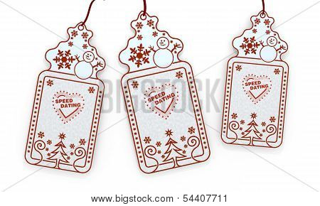 Isolated Christmas Labels With Speed Dating Sticker