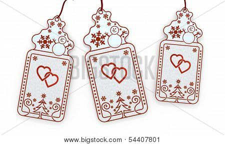 Isolated Christmas Labels With Two Hearts Sign