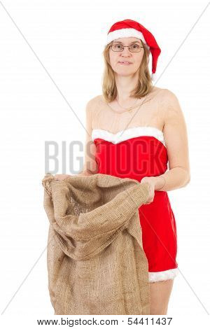 Mrs. Claus After Work With Empty Jute Bag