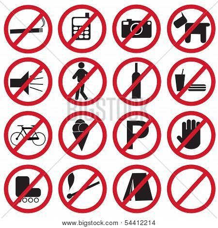 Set of icons showing forbidden actions, vector