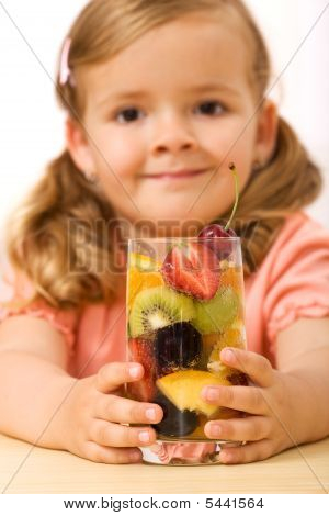 Little Girl With Fruit Drink