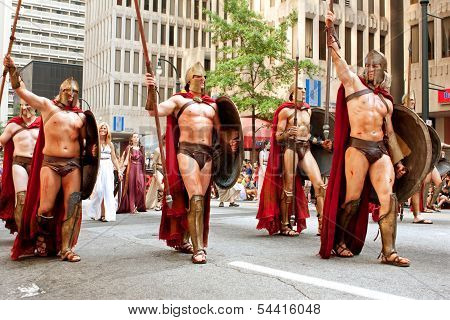 Muscular Spartans From Movie 300 Walk In Dragon Con Parade