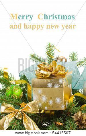 evrgreen fir tree and  christmas  gift box