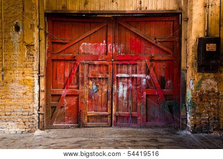 old red wood gate