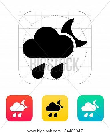 Night downpour weather icon.