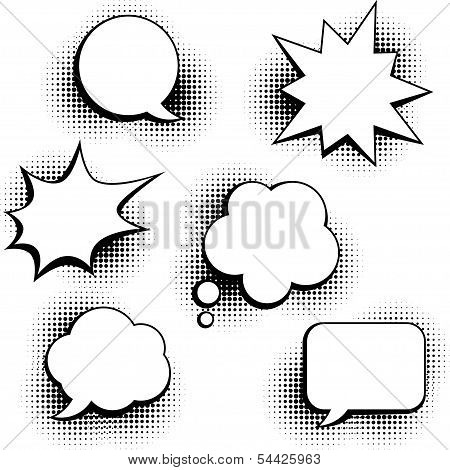 Set of speech bubbles in pop art style.