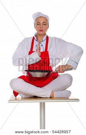 The Meditator Cook With Frying Pan