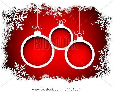 Christmas balls with snowflake frame. Vector eps8