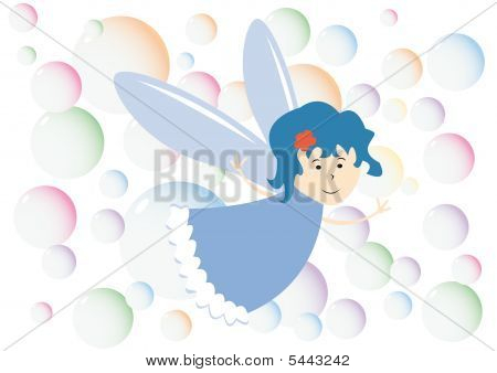 Background With Little Fairy And Color Bubbles