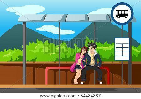 Man And Woman At Bus Stop