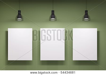 Three Whiteboards Over The Green Wall