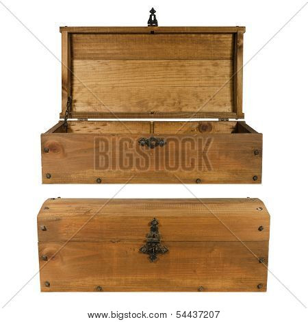 wooden trunk opened and closed isolated