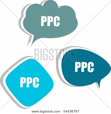 Ppc Word On Modern Banner Design Template. Set Of Stickers, Labels, Tags, Clouds