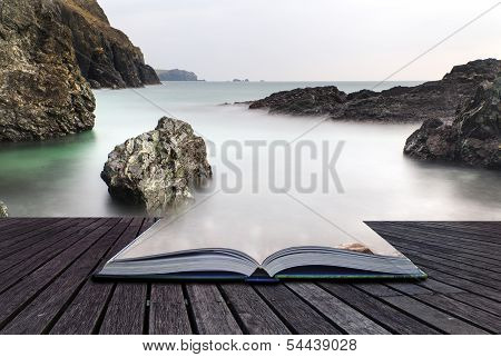 Creative Concept Pages Of Book Long Exposure Kynance Cove Tide