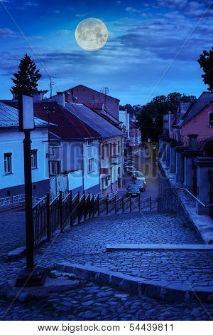 Curve Cobbled Streets Of The Old Town Goes Down